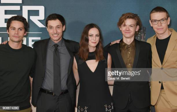 Dylan O'Brien director Wes Ball Kaya Scodelario Thomas BrodieSangster and Will Poulter attend the UK fan screening of 'Maze Runner The Death Cure' at...