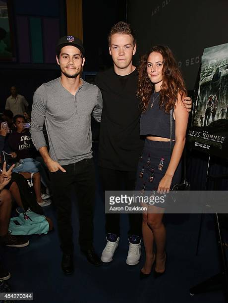 Dylan O'Brien Will Poulter and Kaya Scodelario attend The MAZE Runner Miami at Regal South Beach on August 27 2014 in Miami Florida