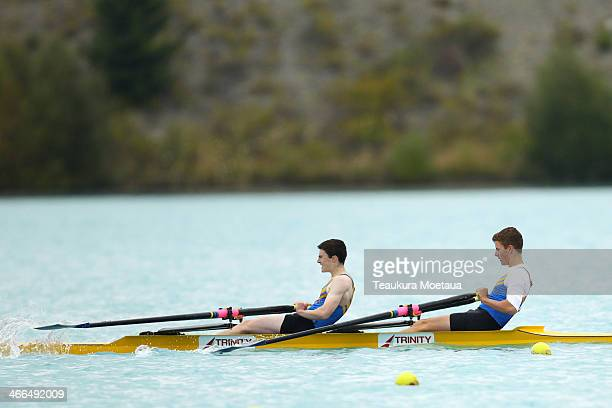 Dylan O'Conner and Jacob Flanagan of Wakatipu compete in the Boys under17 double sculls final during the South Island Club Championships at Lake...