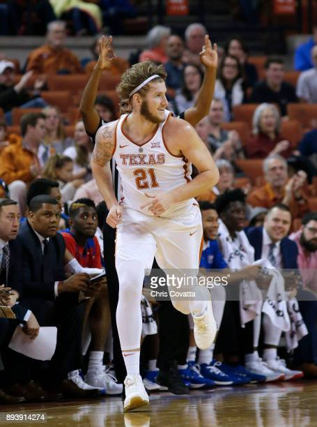 Dylan Osetkowski of the Texas Longhorns reacts after sinking a three point shot against the Louisiana Tech Bulldogs at the Frank Erwin Center on...