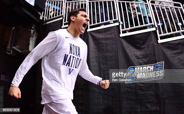 Dylan Painter of the Villanova Wildcats heads out onto the court before the game against the Alabama Crimson Tide in the second round of the 2018...