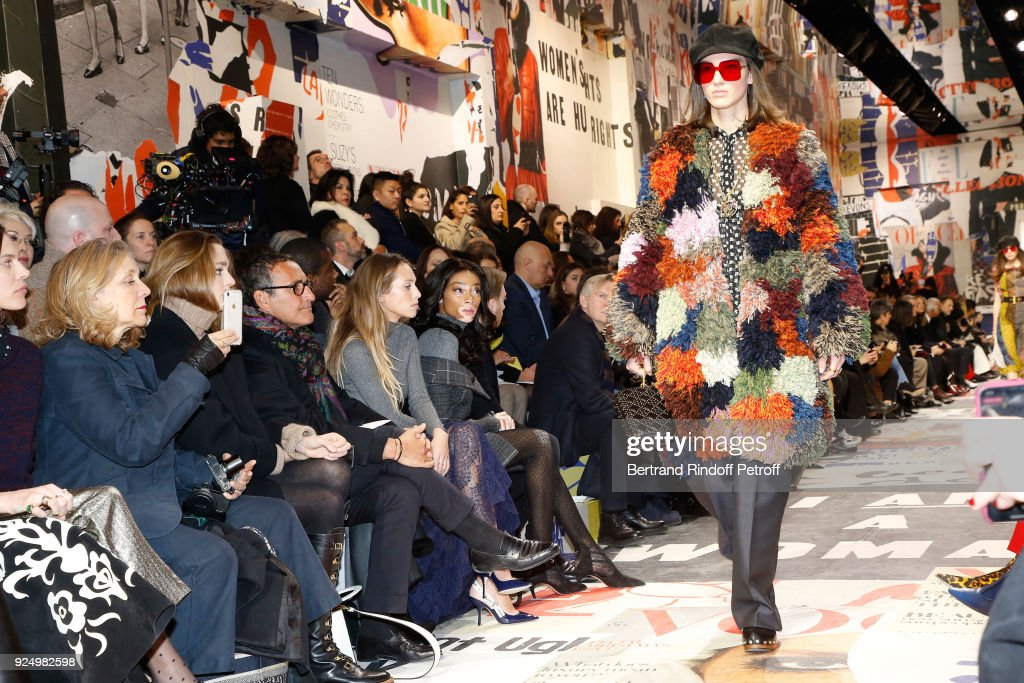 Dylan Penn and Winnie Harlow attend the Christian Dior show as part of the Paris Fashion Week Womenswear Fall/Winter 2018/2019 on February 27, 2018 in Paris, France.