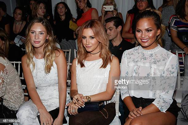 Dylan Penn Ashley Tisdale and Chrissy Tiegen attend the LC Lauren Conrad fashion show during Spring 2016 New York Fashion Week at Skylight Modern on...