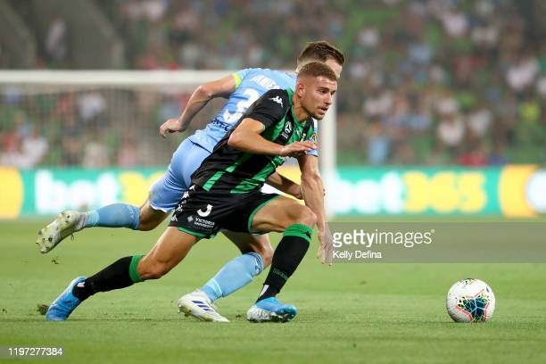 Dylan Pierias of United controls the ball during the round 13 ALeague match between Melbourne City and Western United at AAMI Park on January 03 2020...