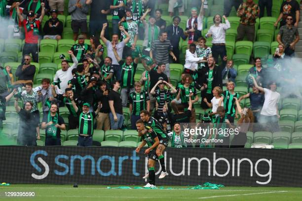 Dylan Pierias of Western United celebrates after scoring a goal only for it to be overturned by the VAR during the A-League match between Western...