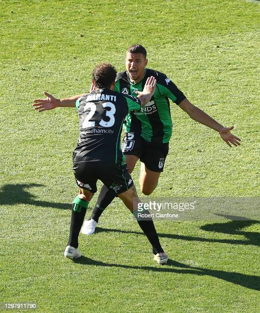 Dylan Pierias of Western United celebrates after scoring a goal during the A-League match between Western United and the Perth Glory at GMHBA...
