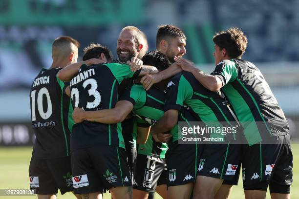 Dylan Pierias of Western United celebrates his second goal with his teammates during the A-League match between Western United and the Perth Glory at...