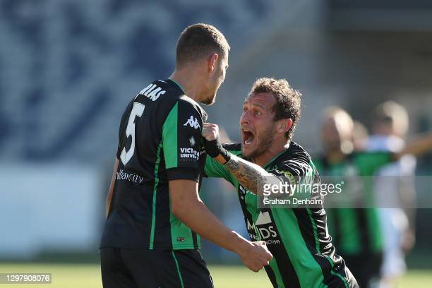 Dylan Pierias of Western United celebrates his second goal with teammate Alessandro Diamanti during the A-League match between Western United and the...