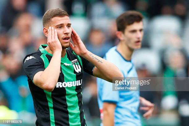 Dylan Pierias of Western United reacts after missing a shot on goal during the round eight A-League match between Western United and Sydney FC at...