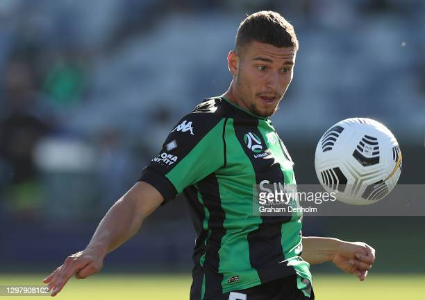 Dylan Pierias of Western United scores his second goal during the A-League match between Western United and the Perth Glory at GMHBA Stadium, on...