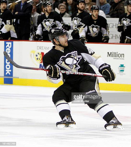 Dylan Reese of the Pittsburgh Penguins skates against the Washington Capitals during the game at Consol Energy Center on February 7 2013 in...