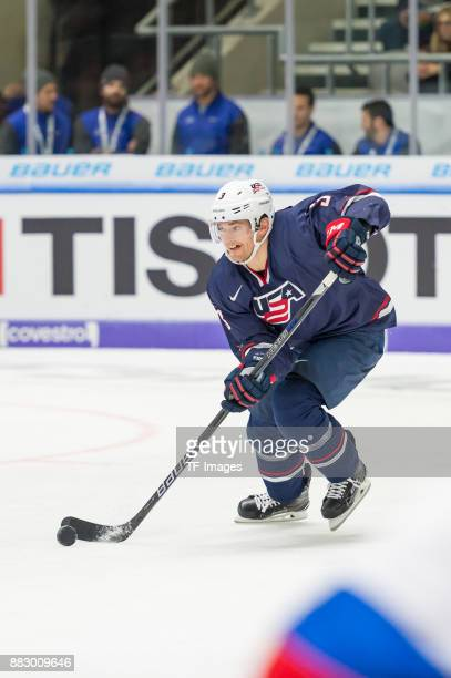 Dylan Reese of USA controls the ball during the Deutschland Cup 2017 match between Russia and USA at CurtFrenzelStadion on November 11 2017 in...