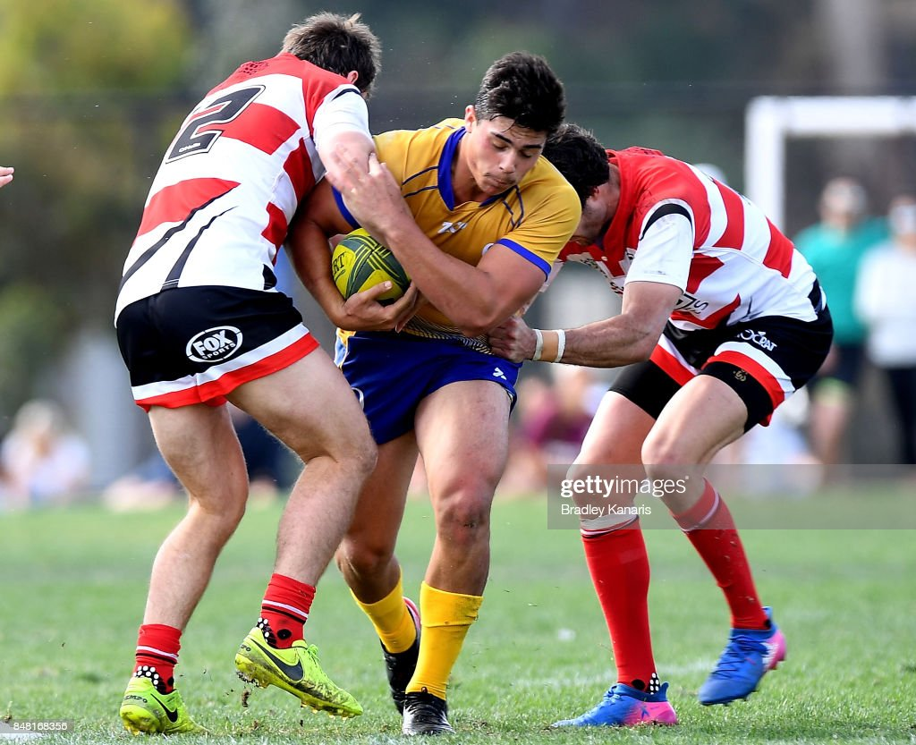 Dylan Riley of Brisbane City takes on the defence during the round three NRC match between Brisbane and Canberra at the University of Queensland on September 17, 2017 in Brisbane, Australia.