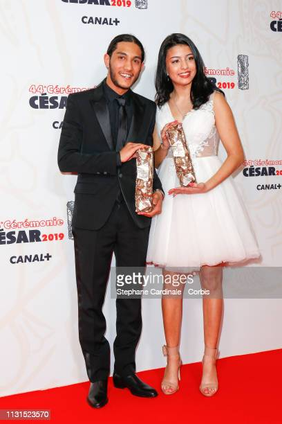 Dylan Robert and Kenza Fortas winners of the award for Best male and female Newcomers for Sheherazade pose in the press room during the 44th Cesar...