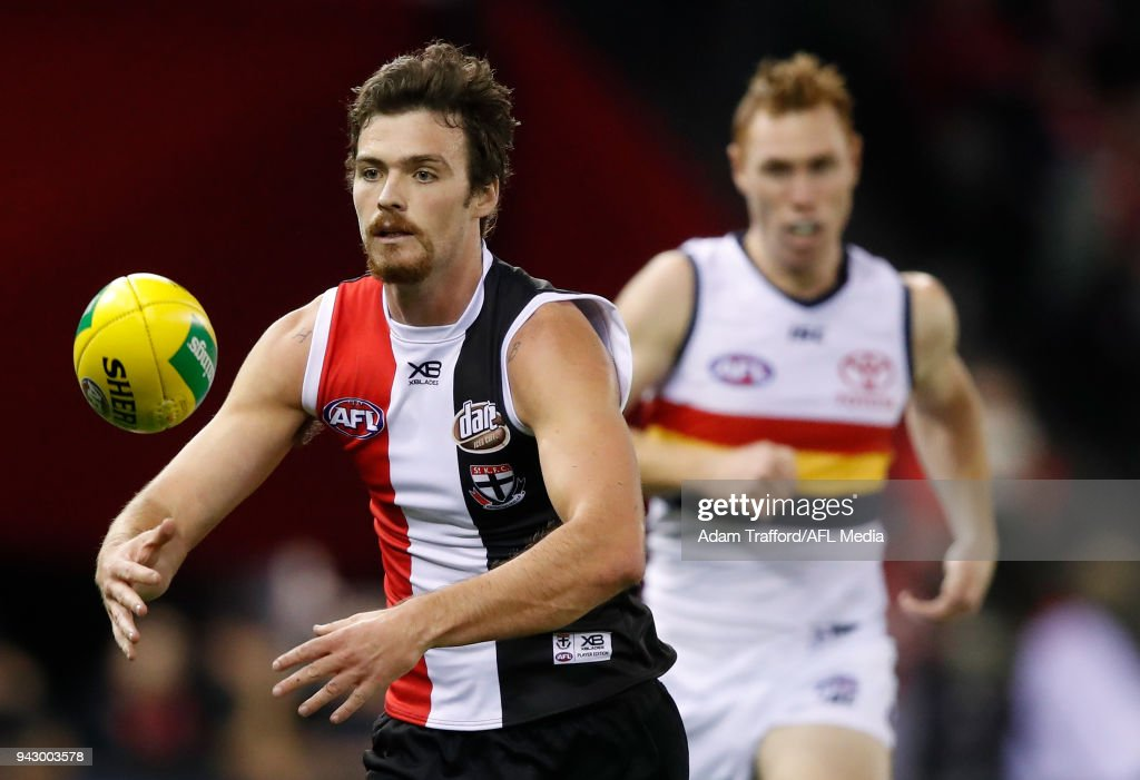 Dylan Roberton of the Saints in action during the 2018 AFL round 03 match between the St Kilda Saints and the Adelaide Crows at Etihad Stadium on April 7, 2018 in Melbourne, Australia.