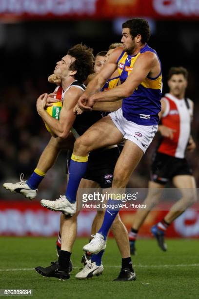 Dylan Roberton of the Saints marks the ball against Jack Darling of the Eagles during the round 20 AFL match between the St Kilda Saints and the West...