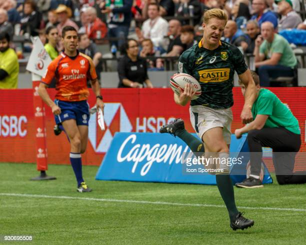 Dylan Sage of South Africa races in to score during Game South Africa vs Fiji Cup SF1 match at the Canada Sevens held March 1011 2018 in BC Place...