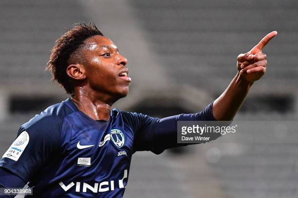 Dylan Saint Louis of Paris FC celebrates after putting his side 10 ahead during the Ligue 2 match between Paris FC and Bourg en Bresse at Stade...