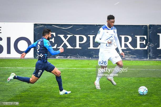 Dylan SAINT-LOUIS of Troyes during the Ligue 2 match between Paris FC and Troyes at Stade Charlety on April 10, 2021 in Paris, France.