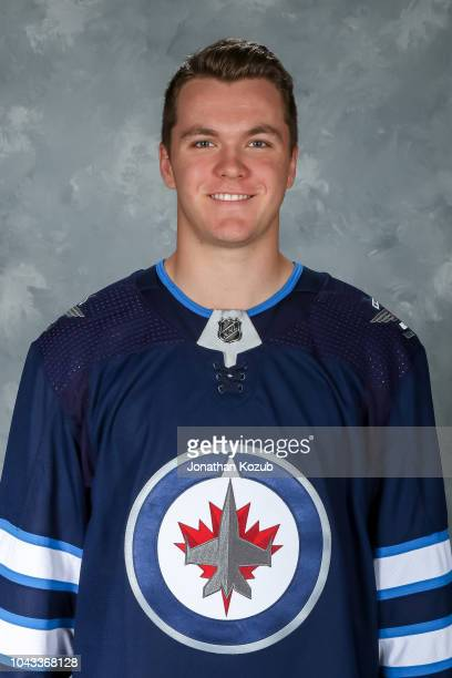 Dylan Samberg of the Winnipeg Jets poses for his official headshot for the 20182019 season on September 13 2018 at the Bell MTS Iceplex in Winnipeg...