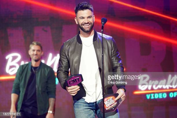 Dylan Scott wins Breakthrough Video of the Year for the 2021 CMT Music Awards at Bridgestone Arena on June 09, 2021 in Nashville, Tennessee.