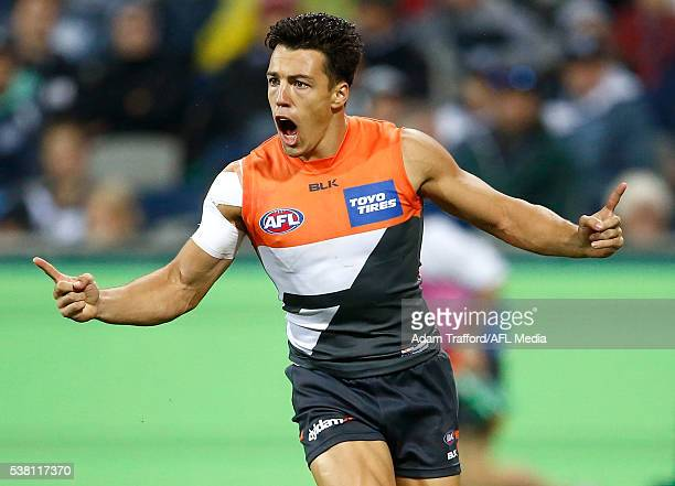 Dylan Shiel of the Giants celebrates a goal during the 2016 AFL Round 11 match between the Geelong Cats and the GWS Giants at Simonds Stadium on June...
