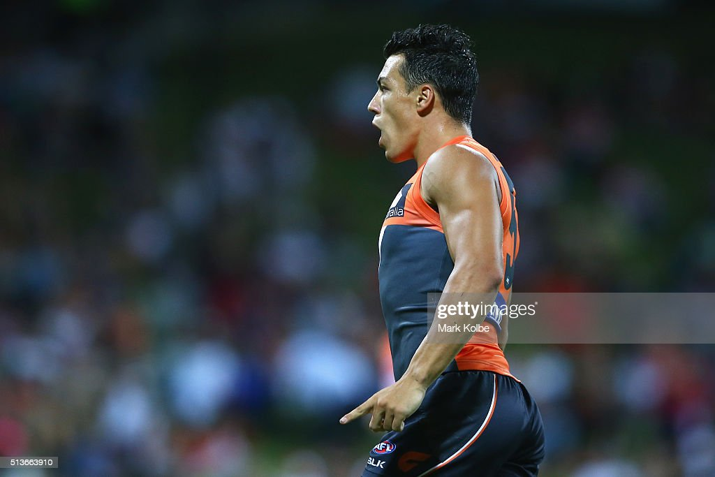 Dylan Shiel of the Giants celebrates kicking a goal during the 2016 AFL NAB Challenge match between the Sydney Swans and the Greater Western Sydney Giants at Drummoyne Oval on March 4, 2016 in Sydney, Australia.
