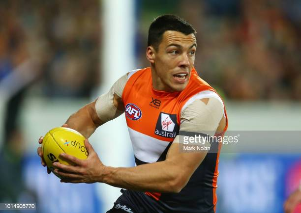 Dylan Shiel of the Giants in action during the round 21 AFL match between the Greater Western Giants and the Adelaide Crows at UNSW Canberra Oval on...