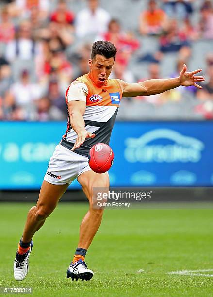 Dylan Shiel of the Giants kicks during the round one AFL match between the Melbourne Demons and the Greater Western Sydney Giants at Melbourne...