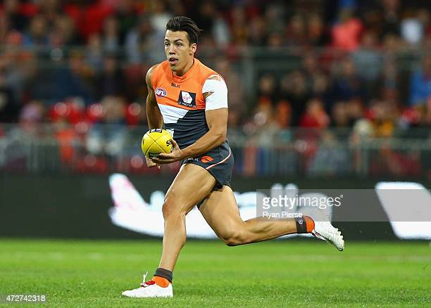 Dylan Shiel of the Giants looks upfield during the round six AFL match between the Greater Western Giants and the Hawthorn Hawks at Spotless Stadium...