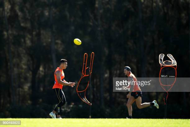 Dylan Shiel of the Giants takes part in a drill during a GWS Giants Training Session at WestConnex Centre on April 24 2018 in Sydney Australia