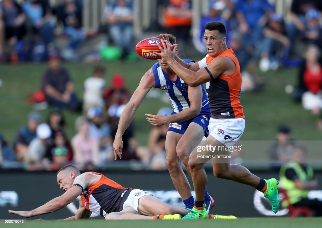 Dylan Shiel of the Giants takes the ball during the round three AFL match between the North Melbourne Kangaroos and the Greater Western Sydney Giants at Blundstone Arena on April 8, 2017 in Hobart, Australia.