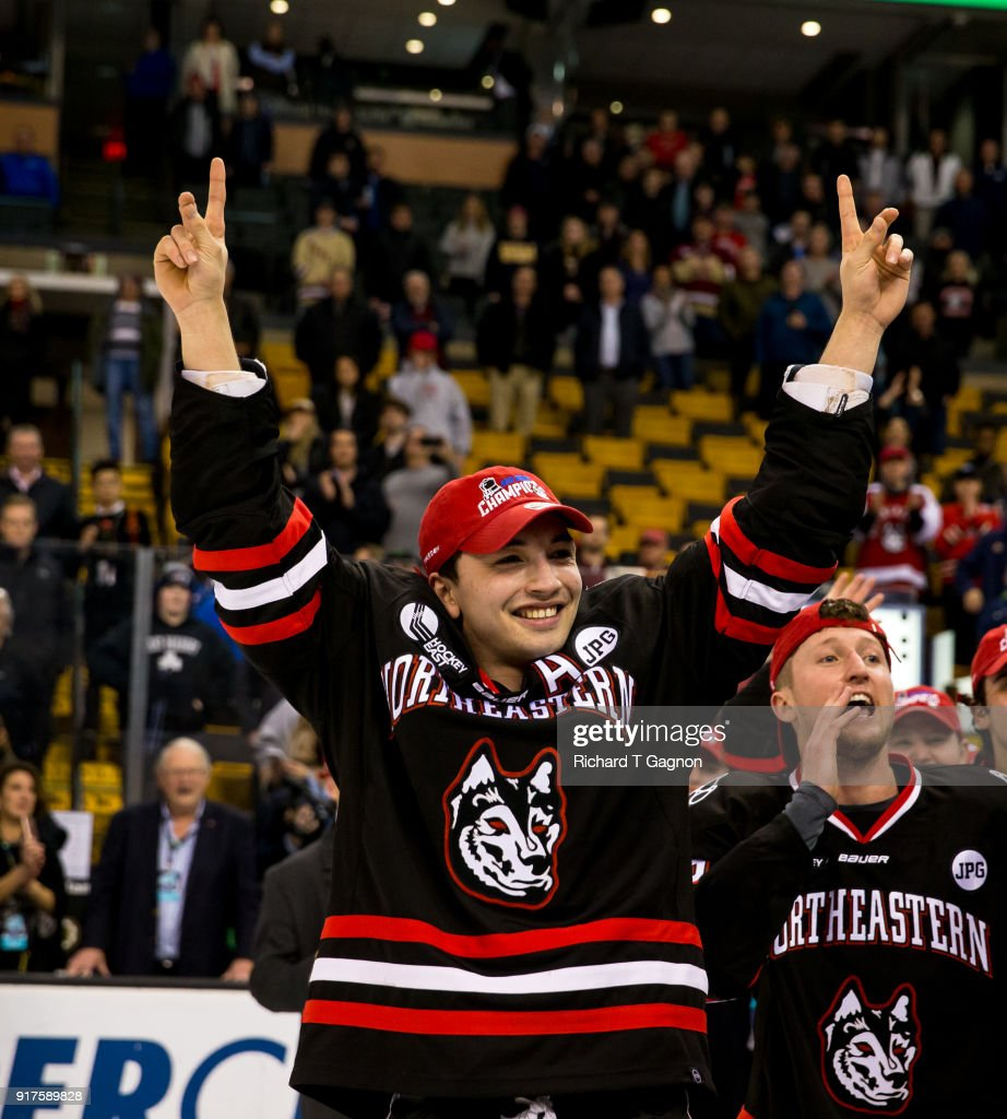 Dylan Sikura #9 of the Northeastern Huskies celebrates after a game against the Boston University Terriers during NCAA hockey in the championship game of the annual Beanpot Hockey Tournament at TD Garden on February 12, 2018 in Boston, Massachusetts. The Huskies won 5-2 to capture their first Beanpot in 30 years.