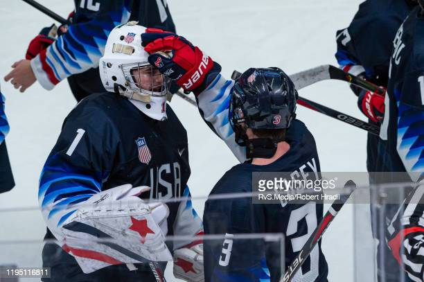 Dylan Silverstein and Seamus Casey of United States celebrates the win after Men's 6Team Tournament Semifinals Game between United States and Canada...