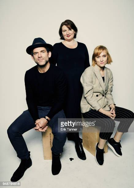 Dylan Smith Ioana Uricaru and Malina Manovici of the film Lemonade pose for a portrait during the 2018 Tribeca Film Festival at Spring Studio on...