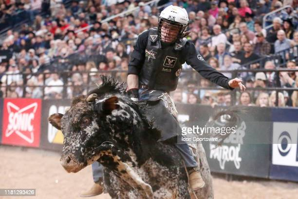 Dylan Smith rides bull Spotted Snake during Round 4 of the Professional Bull Riders World Finals on November 9 at TMobile Arena Las Vegas NV