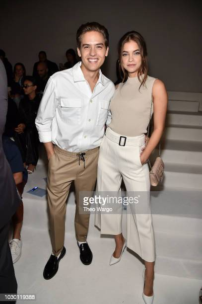 Dylan Sprouse and Barbara Palvin attend BOSS Womenswear Menswear Front Row September 2018 New York Fashion Week at Pier 36 on September 9 2018 in New...