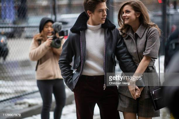 Dylan Sprouse and Barbara Palvin is seen outside Boss during New York Fashion Week Autumn Winter 2019 on February 13 2019 in New York City