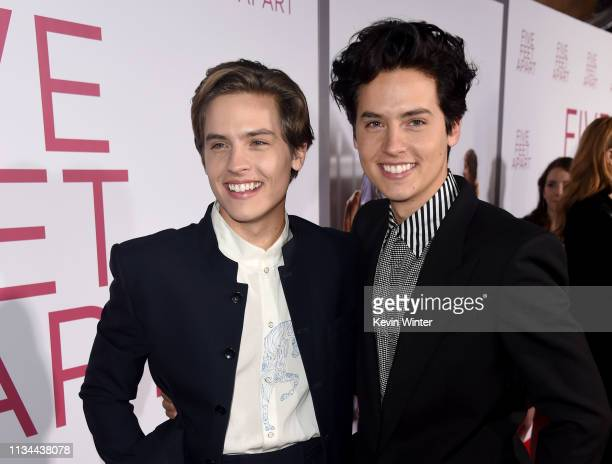 Dylan Sprouse and Cole Sprouse arrive at the premiere of CBS Films' Five Feet Apart at the Fox Bruin Theatre on March 07 2019 in Los Angeles...