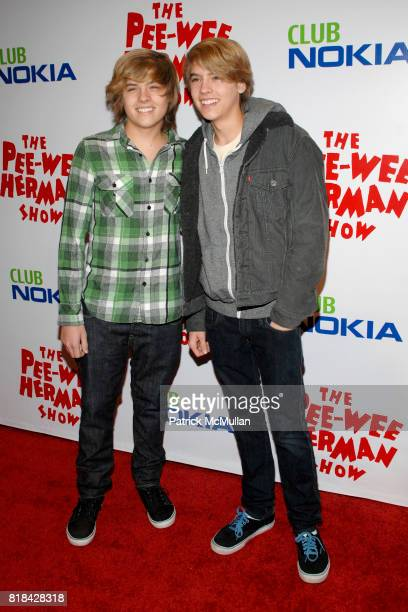 Dylan Sprouse and Cole Sprouse attend The Pee Wee Herman Show Opening Night at Club Nokia on January 20 2010 in Los Angeles California