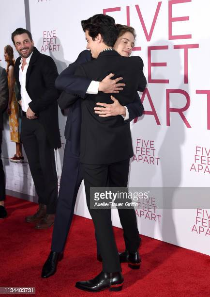 Dylan Sprouse and Cole Sprouse attend the premiere of Lionsgate's 'Five Feet Apart' at Fox Bruin Theatre on March 07 2019 in Los Angeles California
