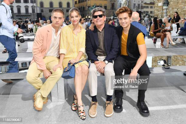 Dylan Sprouse Barbara Palvin Matthew Sprouse and Cole Sprouse attend the Salvatore Ferragamo show during Pitti Immagine Uomo 96 on June 11 2019 in...