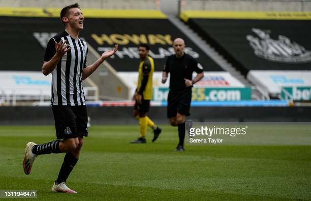 Dylan Stephenson of Newcastle United celebrates after he scores Newcastle's second goal during the fifth round of the FA Youth Cup between Newcastle...