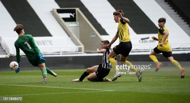 Dylan Stephenson of Newcastle United scores their second goal during the fifth round of the FA Youth Cup between Newcastle United and Watford FC at...
