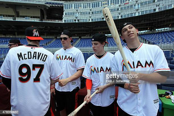Dylan Strome 2015 NHL top Draft Prospect looks out on the field before batting practice during the Media Tour at Marlins Park on June 24 2015 in...