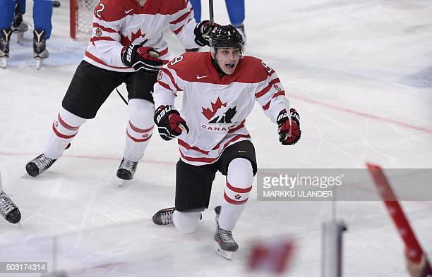Dylan Strome of Canada celebrates after scoring the 20 goal during the 2016 IIHF World Junior Ice Hockey Championship quarterfinal match between...