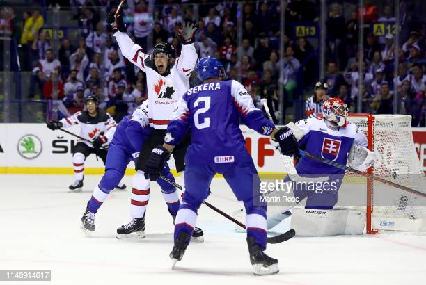 Dylan Strome of Canada celebrates the game winning goal during the 2019 IIHF Ice Hockey World Championship Slovakia group A game between Slovakia and...