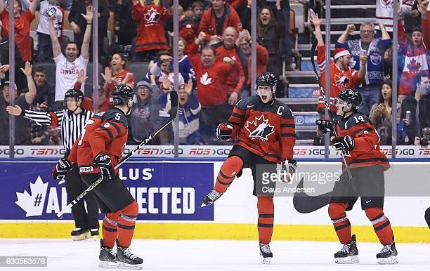 Dylan Strome of Team Canada celebrates a goal against Team Russia during a game at the the 2017 IIHF World Junior Hockey Championships at the Air...
