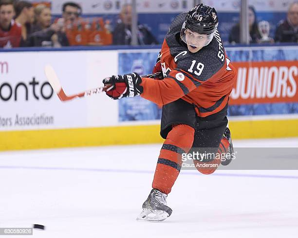 Dylan Strome of Team Canada fires a shot against Team Russia during a game at the the 2017 IIHF World Junior Hockey Championships at the Air Canada...