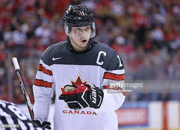 Dylan Strome of Team Canada gets set for a faceoff against Team Latvia during a preliminary game in the 2017 IIHF World Junior Hockey Championships...